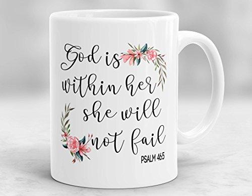 CiCiDi 11 Unzen Kaffeetasse - Gott ist in ihr, sie wird nicht Becher, christliches Geschenk, biblische Tasse, christliche Tasse, Psalm 46: 5 Becher, religiöses Geschenk, spirituelle Becher (Religiöse Reise-tassen)