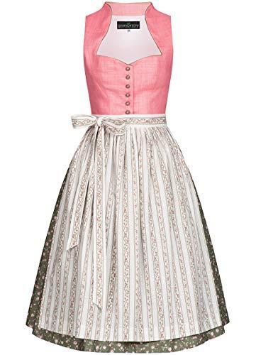 Berwin und Wolff Damen Trachten-Mode Midi Dirndl Traudl in Rosa traditionell, Größe:46, Farbe:Rosa