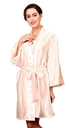 NiSeng donna pigiama seta estivo manica lunga satin accappatoio cintura abito da sera Rosa Chiaro Taglia