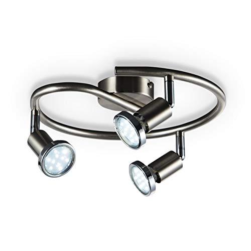 B.K. Licht plafonnier LED 3 spots orientables, luminaire plafond chromé, lumière blanche chaude, spots plafond chambre salon, 230V, GU10, IP20, 3x3W inclus