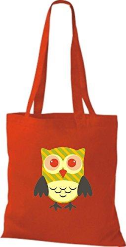 ShirtInStyle Jute Stoffbeutel Bunte Eule niedliche Tragetasche mit Punkte Karos streifen Owl Retro diverse Farbe, braun rot