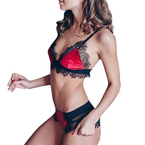 xy Damen Dessous Set Satin Negligee Ungefüttert Bralette Unterwäsche Floral Spitze BH und Panties Set Erotik Reizwäsche ()