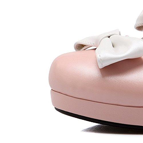 Pu Médio Couro Fivela Bico De Senhoras Sapatos Bombas Salto Rosa Redondo Voguezone009 Puro wxXaxYq0