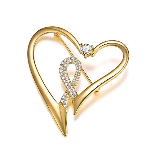 Italina Bijoux Brosche für Frauen Mode Herz Form Elegant Geschenk Schmuck Abzeichen Damen Dekoration Brooch vergoldet