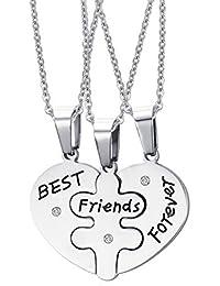 Fengteng Edelstahl Freundschaft Bester Freund BFF für Immer mit Drei O Ketten Anhänger Ketten Freundinnen Liebe Anhänger Halskette 3 Stück