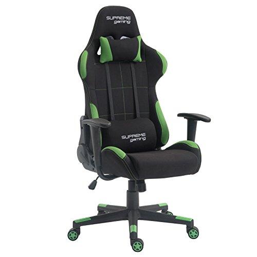 Preisvergleich Produktbild CARO-Möbel Gaming Drehstuhl Swift Stoffbezug in Schwarz/grün Racer Gamer Bürostuhl Schreibtischstuhl PC Chefsessel