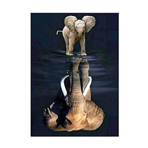 bduco Elefant Reflection 5D Diamond Gemälde Full, Stickerei DIY Gemälde Halloween Home Decor (Halloween Del Reflexiones)