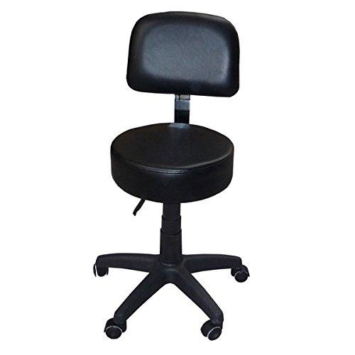 Eyepower 12345 Kosmetikhocker aus Leder schwarz, Sitzhöhe stufenlos höhenverstellbar