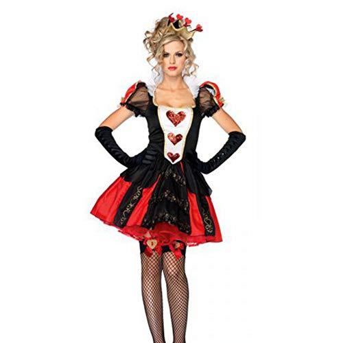 NFY Königin Herzen Kleid Halloween Damen Jumpsuit Kostüm Geeignet Kleiderparty Fasching Karneval