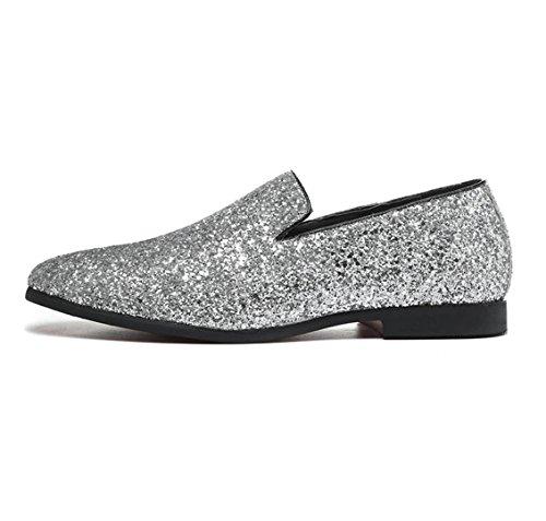 Europa und Schuhe des Diamanten Männer niedrig Herrenmode Freizeitschuhe Friseurin Schuhen zu helfen Silver