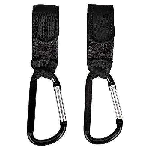 2er Kinderwagen Haken Queta Universalhaken für Ihre Wickeltasche, Einkaufstasche und mehr, bis zu 10 kg Tragfähigkeit, schwarz