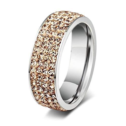 Beydodo Sterling Silber Ring für Damen Rund Gelb Kristall Trauring Silber Parterring Größe 45 ()
