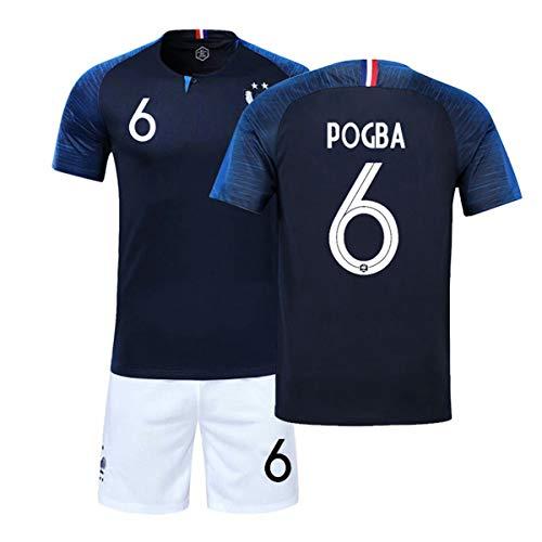 ZWXYA FFF Maillot De Champion De France Coupe du Monde 2018 Deux Étoiles avec des Shorts,Pogba,S(165-170CM)