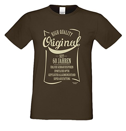 Herren-Geburtstag-Motiv-Fun-T-Shirt Original seit 60 Jahren Geschenk zum 60. Geburtstag oder Jubiläums-Weihnachts-Geschenk auch Übergrößen 3XL 4XL 5XL in vielen Farben braun-15