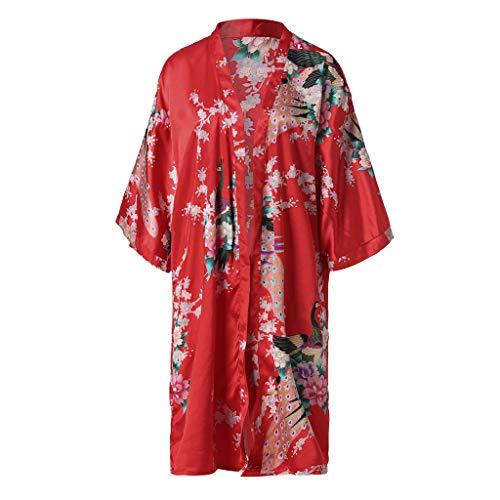 MIRRAY Damen Nachtwäsche Silber Bedruckter Celebrity Style Spitze Casual Schlafanzug Nachthemd (Rot,Einheitsgröße)