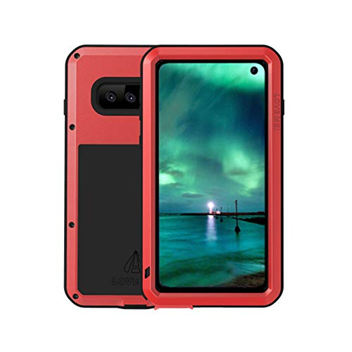 qichenlu [Panzer Rüstung Rot S10 Alu Hybrid Silikon Metall Gehäuse,Integriertes Display Schutz Glas Bruchsicher Outdoor Case Ganzkörper Stoßfeste Hülle für Samsung Galaxy S10 Hybrid Case Rot