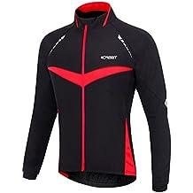 iCreat Hombre Jacket Air Jacket Wind Densidad Agua Densidad MTB Mountain Bike Jacket visible reflectante, forro polar cálido Jacket Para Otoño, Tamaño de S hasta XXL, otoño/invierno, hombre, color rojo, tamaño extra-large