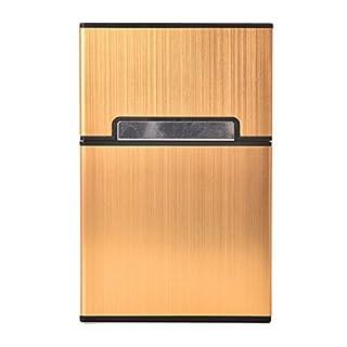 JETTINGBUY 20 x Taschen-Zigaretten- / -Zigarren-Box / -Behälter  aus Metall zum Aufbewahren von Tabak für Herren goldfarben