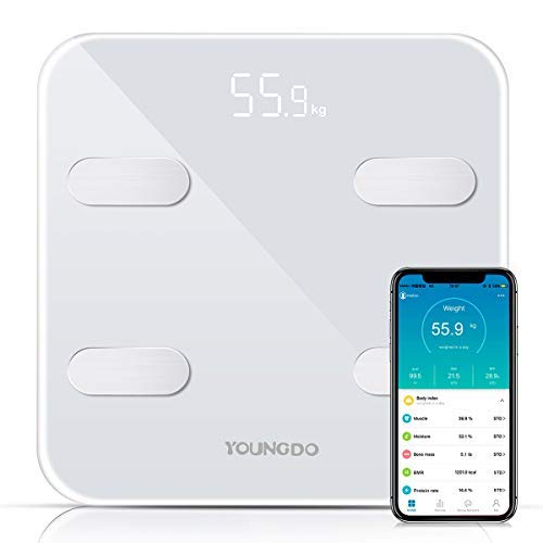 YOUNGDO Körperfettwaage, 30x30cm große Platte Bluetooth Personenwaage mit APP für iOS und Android, Vermessung von BMI, Körpergewicht, Körperfett, Körperwasser, Muskemaße usw. Körperdaten (Weiß)