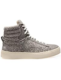 6e78147fd Po-Zu Womens Heath T Grey High Top Trainers Boots in Suede and Tweed