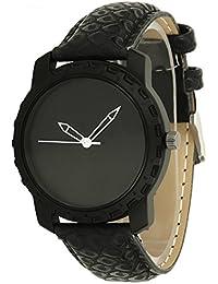 Dk Mens Analogue Black Dial Black Leather Strap Wrist Watch For Boys (dk001195)
