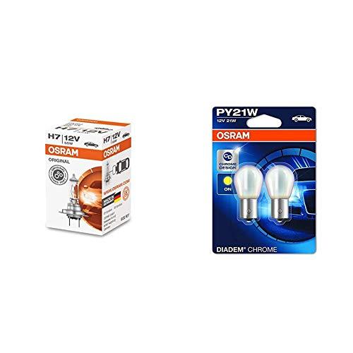 Osram Original Line H7 Longlife 64210L 1Er Faltschachtel + Diadem Chrome Blinker Py21W 7507Dc-02B Doppelblister
