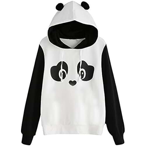 ropa primavera kawaii Lenfesh Animal Impresión Animal Sweatshirts Camiseta Suéter Mangas largas Mujer ,Kawaii Panda Sudaderas con Capucha Casual 2017/2018