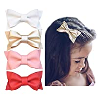 California Tot Premium Faux Leather Bow Hair Clips for Toddler, Girls, Mixed Set of 4 (Deluxe Set)