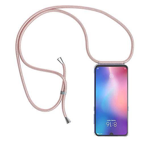 YuhooTech Funda con Cuerda para Xiaomi Mi 9 SE, [Moda y Practico] [ Anti-Choque] [Anti-rasguños] Suave Silicona Transparente TPU Carcasa de movil con Colgante/Cadena, Oro Rosa
