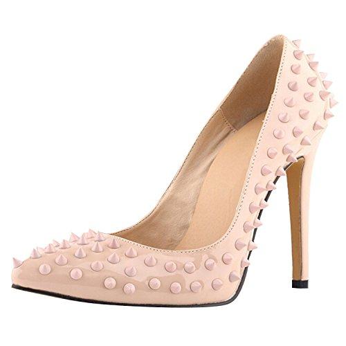Oasap Damen Fashion Nieten Stiletto High Heels Apricot