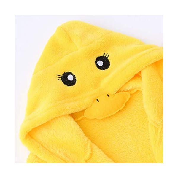 QinMM 0-12M bebés niños Pato Dibujos Animados Franela Albornoces Ropa de Dormir con Capucha + Calzado Bata de baño 4