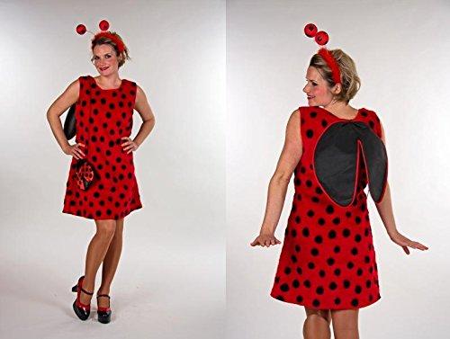 Marienkäfer Kleid mit Flügeln, Kopfbügel mit Fühlern, Handtasche, Größe:40-42