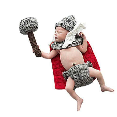 4 PCS Neugeborenes Baby Häkeln Kostüm Outfits Fotografie Requisiten The Avengers Thor Hut+Hose+Mantel+Mjolnir 0-6 Monate