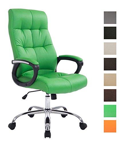 Clp poltrona da ufficio poseidon xxl - sedia studio presidenziale imbottita e foderata in similpelle - sedia ufficio girevole e regolabile in altezza - poltrona elegante, portata 160 kg verde