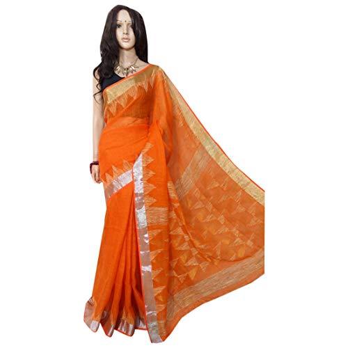 ETHNIC EMPORIUM Indisches ethnisches Leinen Jamdani Saree Sari orange Colored Fancy Damenkleid 100a -