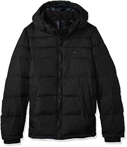 Tommy Hilfiger Men's Big Insulated Midlength Quilted Puffer Jacket with Fixed Hood, Black, X-Large Tall - Tommy Hilfiger Quilted Coat
