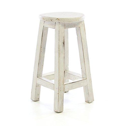 Divero DW61020 Rustikaler Hocker rund massiv Holz Sitzhocker weiß im Vintage-Look Schemel Blumentisch Blumenhocker Landhaus-Stil 50 cm Handarbeit,