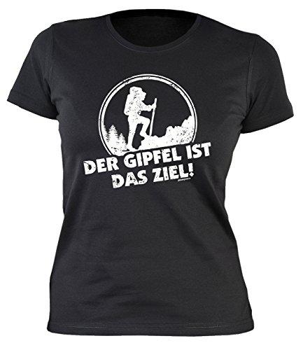 Zeichen Damen Schnitt T-shirt (Bergsteigen Wandern Hobby Shirt Damen Berg Sport mit Aufdruck Bergsteiger Motiv deutscher Text GIPFEL Bekleidung T-Shirt Outdoor Trekking Geschenkidee Gr. L : ))