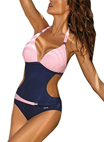 Aleumdr Monokini Damen Badeanzug Einteiliger Bademode Neckholder Schwimmanzug Halter Tiefer V-Ausschnitt Rückenfrei M