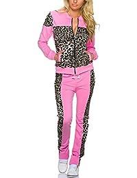 jowiha–® Traje de entrenamiento para mujer Ocio Traje Chándal para algodón estilo Leopard Rosa L