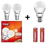 Eveready Base B22D 8 Combo + 9-Watt LED Bulb (Cool Day Light) - Pack of 3 (Total 3 Bulbs)