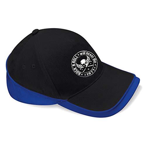 Skull Biker Rockabilly Hotrod Rock n Roll Ramones Baseball Cap Mütze -c159 (sw-blau)