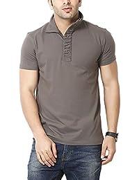 Gritstones Men's Half-Zip Cotton T-Shirt