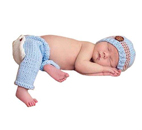 Happy Cherry Neugeborenes Baby Foto Kostüm Fotografie Prop Handarbeit Bekleidungsset Fotoshooting Stricken Tiere Kostüm Baby Junge Mädchen Trikot Foto Outfits Requisiten Für 0-1 Monate - Hellblau