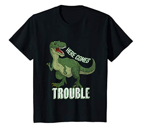 Kinder Hier kommt Ärger Funny Boys Graphic Print Funny Dinosaur T-Shirt -