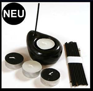 das originelle zen geschenk set schwarz weiss duftset als kerzen und r ucherset mit. Black Bedroom Furniture Sets. Home Design Ideas