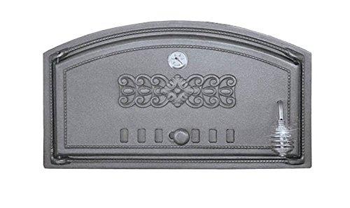 Backofentür Ofentür Pizzaofentür Holzbackofentür Steinbackofentür aus Gusseisen mit Thermometer | Außenmaße: 490x280 mm | Öffnungsrichtung: links