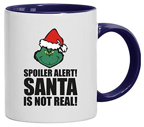 ShirtStreet Geschenk für Weihnachtsmuffel bedruckte 2-farbige Kaffeetasse Bürotasse mit Spruch Motiv Spoiler Alert Santa, Größe: onesize,weiß/blau