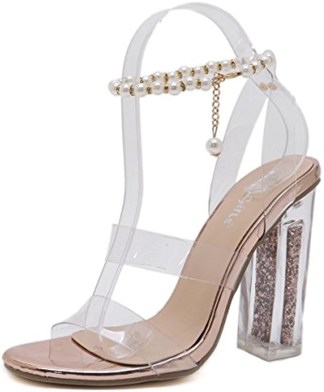 d10cc20f5a9 Women s Women s Women s Sandals Transparent Sexy Crystal with Roman Style  Super high Thick B07DDKCPZF Parent d8cf66