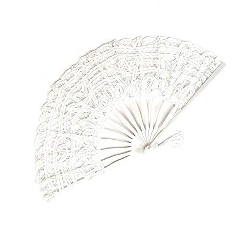 AIUIN Frauen Spitze Faltfächer Handgemachte Baumwollspitze Bestickt mit Bambusrahmen Hand Fans Viktorianischen Design für Tanzen Cosplay Hochzeitsdekoration 27CM (Weiß)